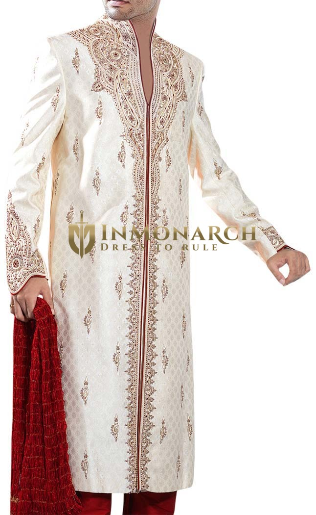Mens Sherwani Cream Designer Sherwani Traditional mens Indian Suit