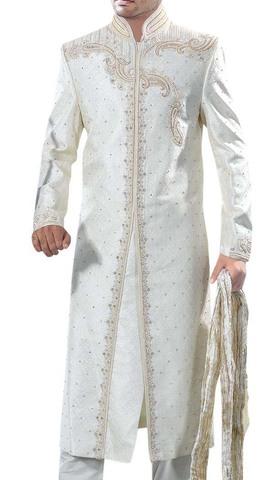 Brilliant White Wedding Sherwani