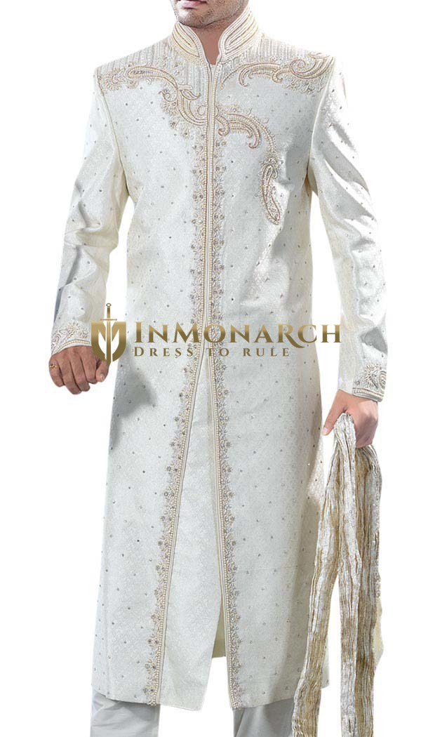 Mens Indian Sherwani White Wedding Sherwani For Men Embroidered