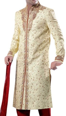 Mens Golden Dreams Designer 3 Pc Sherwani