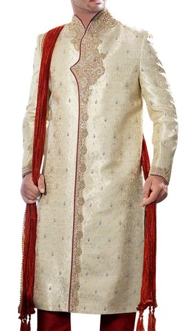 Mens Light Golden 3 Pc Sherwani Red Piping