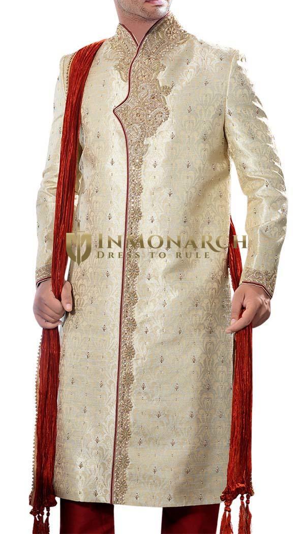Lordly Light-Gold Groom Sherwani
