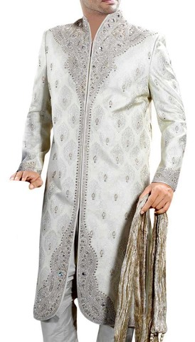Mens Indian Suit White Bollywood Style Western Attire Sherwani