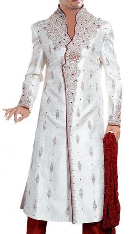 Mens Cream 3 Pc Sherwani Partywear