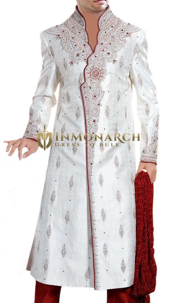 Mens Indo Western Cream Western Attire Sherwani Partywear