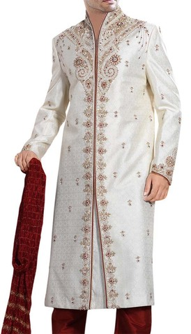 Mens Cream 3 Pc Sherwani Maroon-Flecked Bollywood