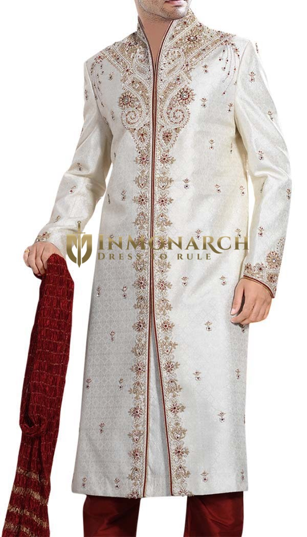 Groom Sherwani For Men Cream Sherwani Maroon-Flecked Bollywood