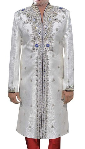 Mens Indo Western Outfit White Wedding Sherwani Blue Piping
