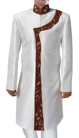 Mens Cream Dupion Silk Designer 2 Pc Sherwani