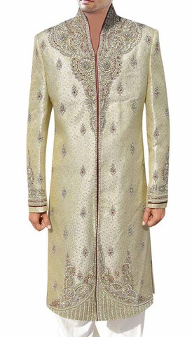 Mens Indian Wedding Men Golden Wedding Sherwani Silver Embroidered