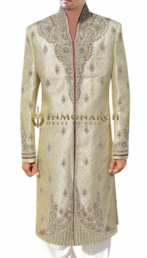 Light Goldenrod and Silver Classic Sherwani