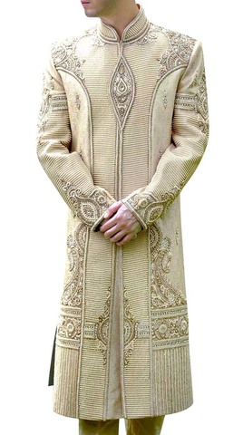 Mens Cream Wedding 2 Pc Sherwani Heavy Work