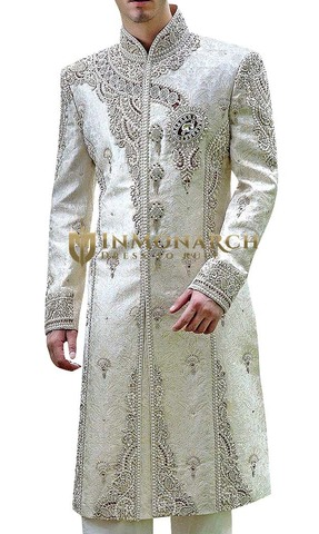 Mens ivory 2 Pc Indian Groom Sherwani Mind Blowing
