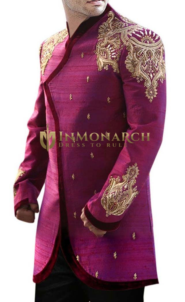 Mens Indian Sherwani Pink Raw Silk Sherwani Golden Embroidered