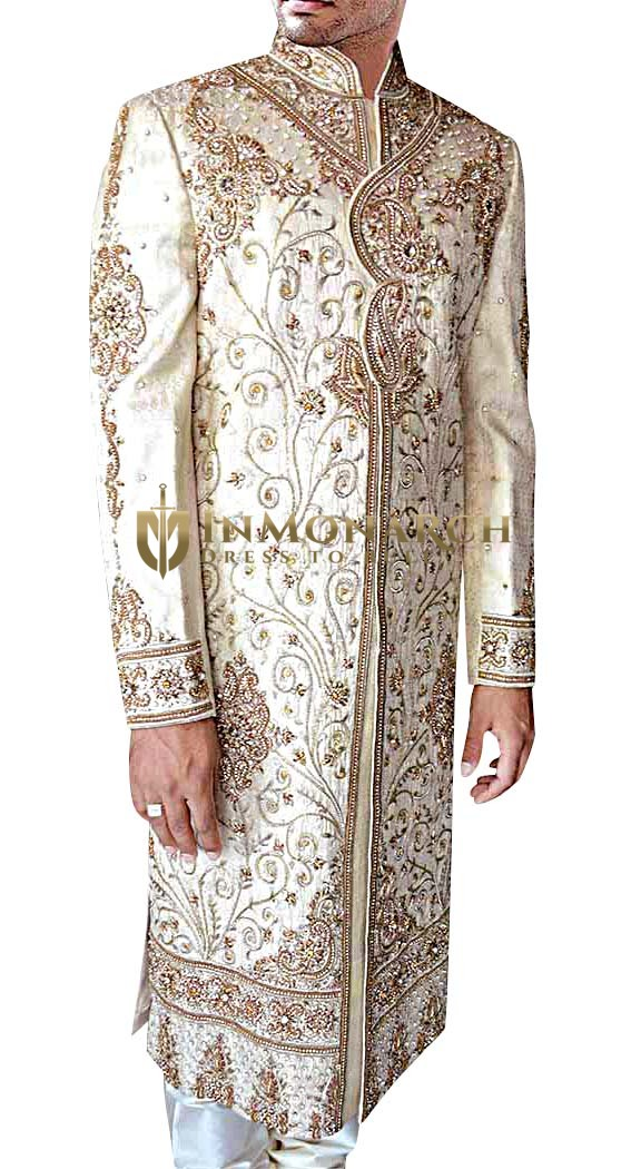 Mens Cream Embroidered 2 Pc Sherwani Traditional