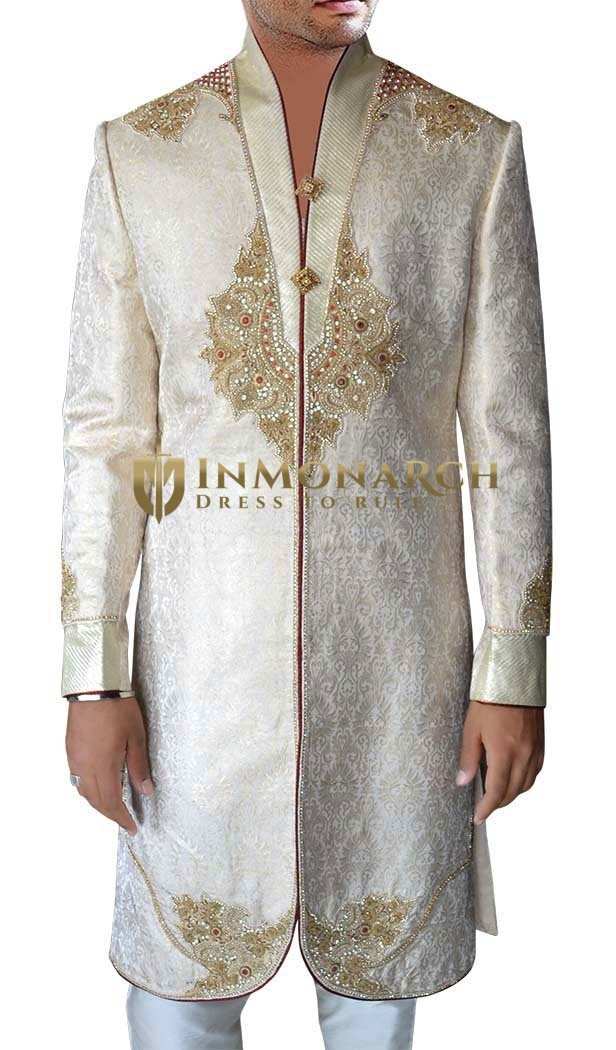 Mens Sherwani Cream Sherwani Famous indian Wedding Men Engagement