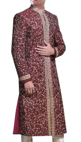 Golden Embroidered Maroon Wedding Sherwani