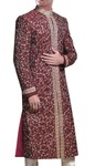 Mens Maroon Wedding 2 Pc Sherwani Golden Embroidered