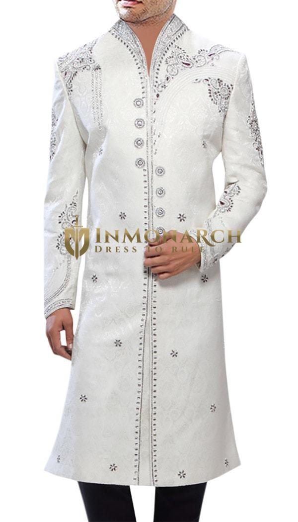 Classic Designer White Sherwani