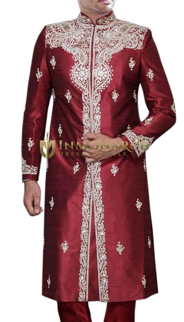 Mens Maroon Silk 2 Pc Sherwani Embroidered
