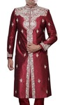 Groom Sherwani For Men Maroon Silk Sherwani Embroidered