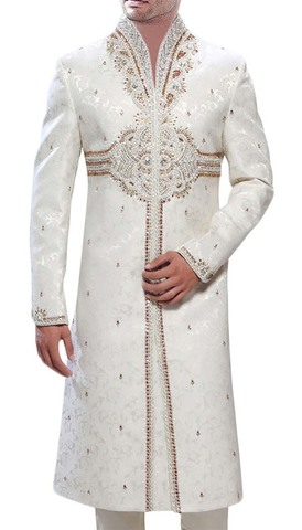 Mens Indian Wedding Men Cream Sherwani Golden Embroidered
