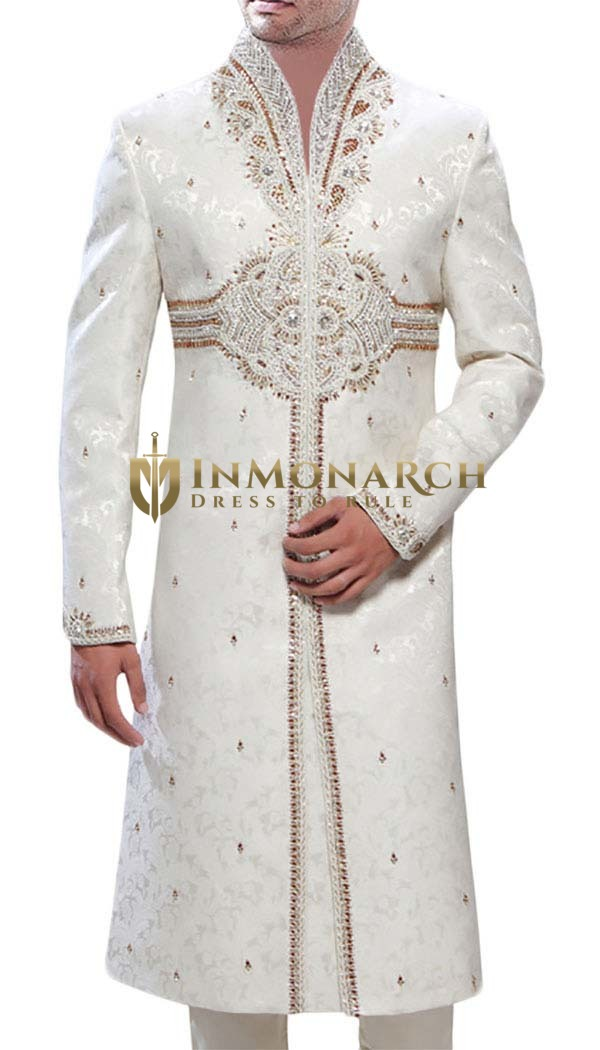 Mens Cream Brocade 2 Pc Sherwani Golden Embroidered
