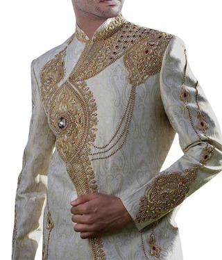 Cream Groom hand embroidered Sherwani for Men