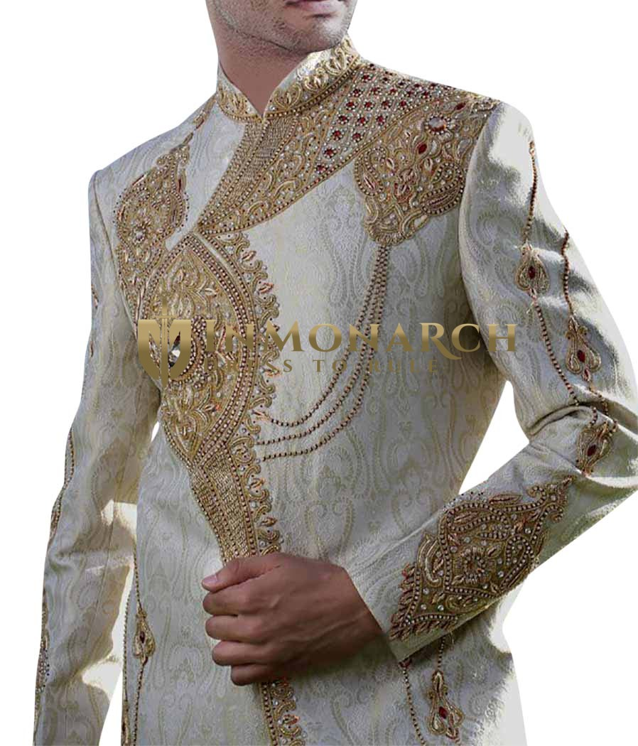 Mens Cream 2 Pc Sherwani Heavily Embroidered