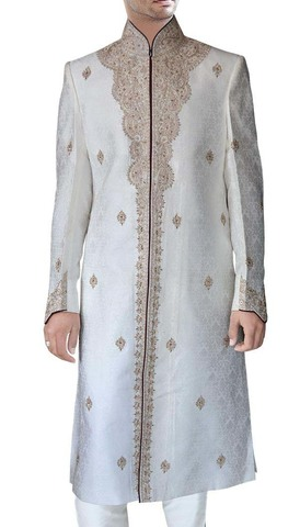 Mens Cream 2 Pc Wedding Sherwani Maroon Piping