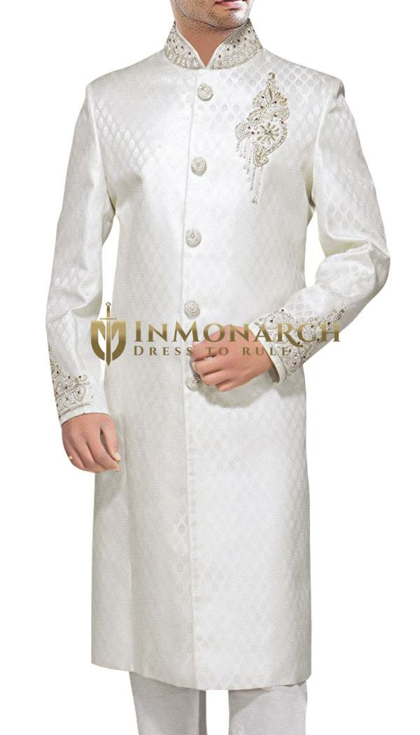 Mens White 2 Pc Sherwani Traditional
