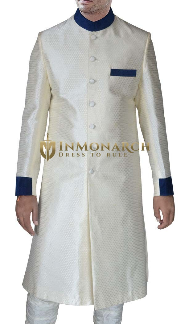 Mens Cream Brocade 2 Pc Sherwani Partywear