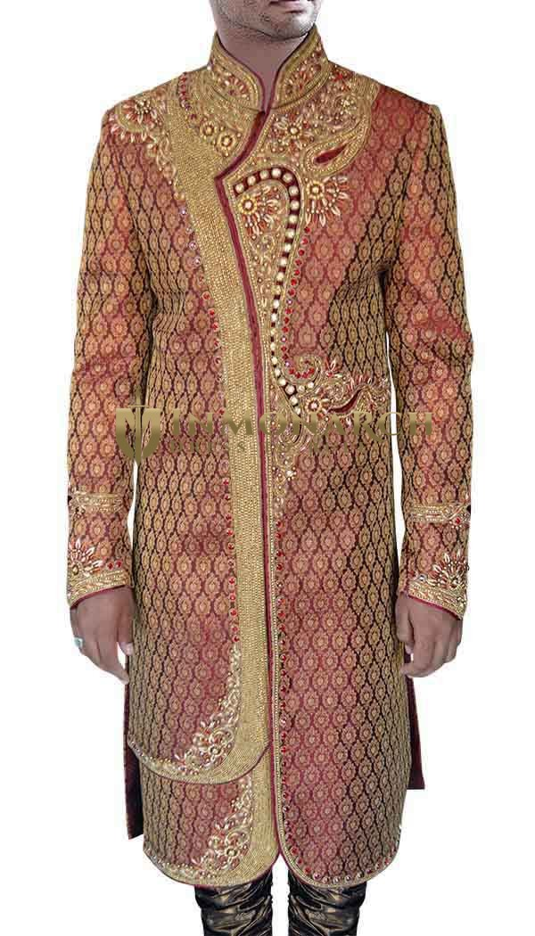 Mens Maroon Rose and Golden 2 Pc Sherwani