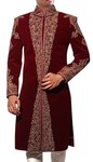 Mens Sherwani Maroon Velvet Sherwani Indian Suit Reception