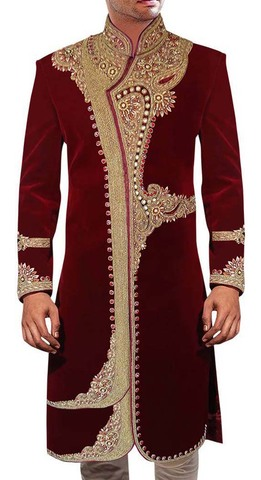 Groom Sherwani For Men Maroon Velvet Wedding Sherwani