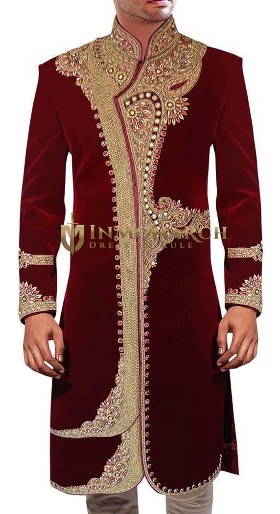 Extraordinary Maroon Wedding Sherwani