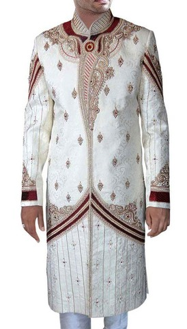 Men Sherwani Cream Maroon-Accented Wedding Sherwani