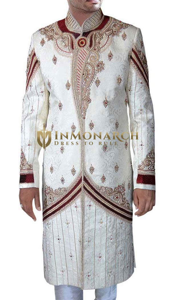 Dashing Maroon-Accented Cream Sherwani