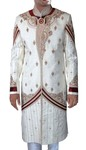 Mens Cream Maroon-Accented 2 Pc Wedding Sherwani