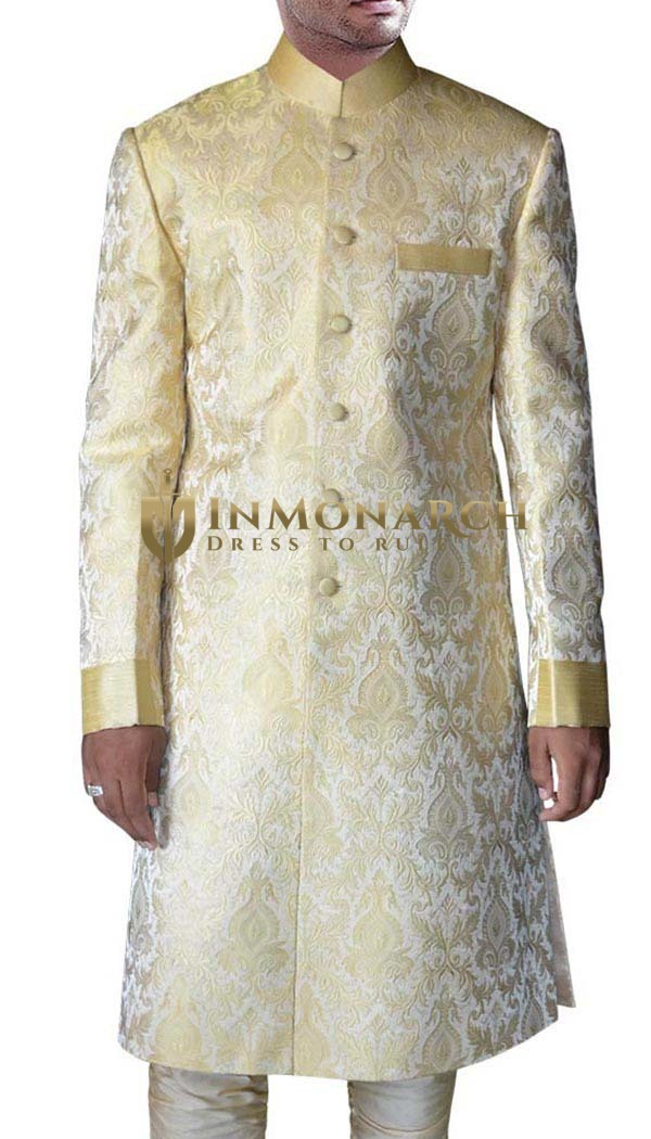 Mens Indo Western Outfit Golden Indian Suit Jodhpuri Sherwani