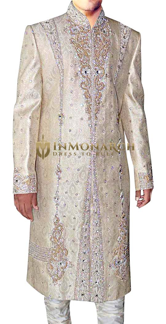 Mens Sherwani Beige Designer mens Indian Suit Embroidered Sherwani