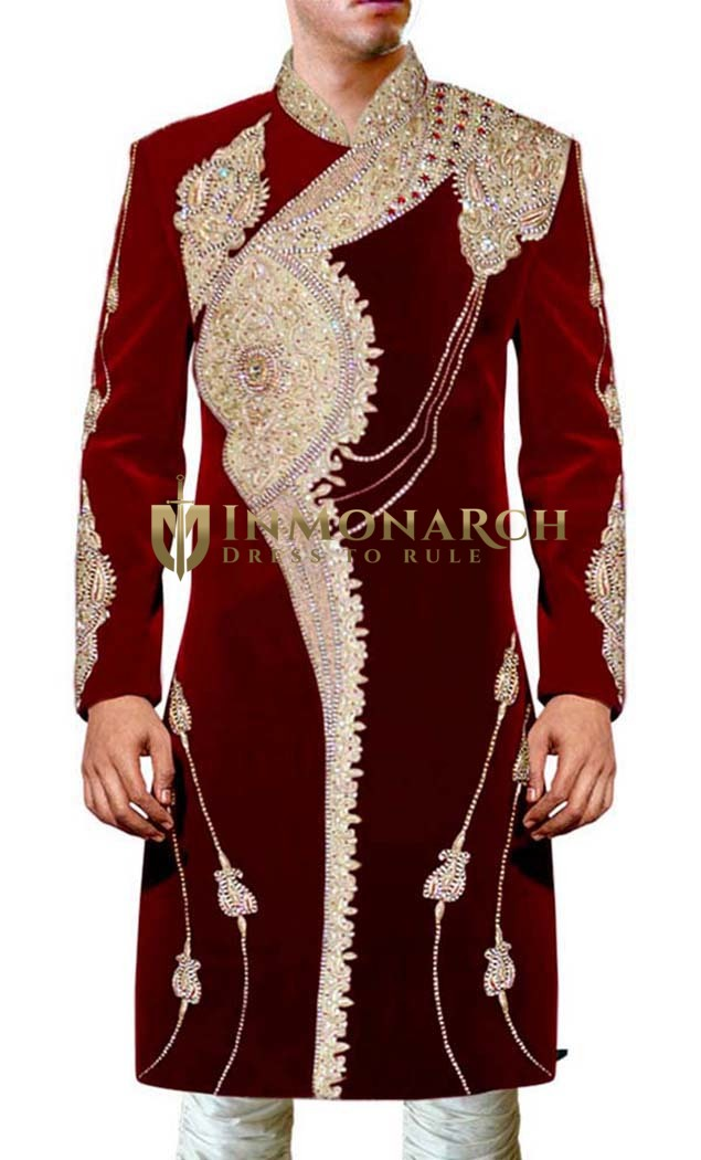 Mens Maroon Wedding 2 Pc Sherwani Embroidered