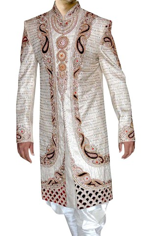 Mens Cream Wedding 2 Pc Sherwani Cut Work