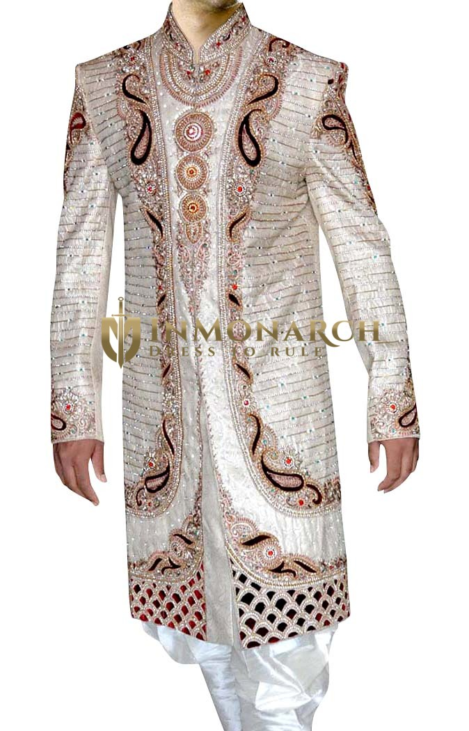 Mens Indian Wedding Men Cream Wedding Sherwani Cut Work
