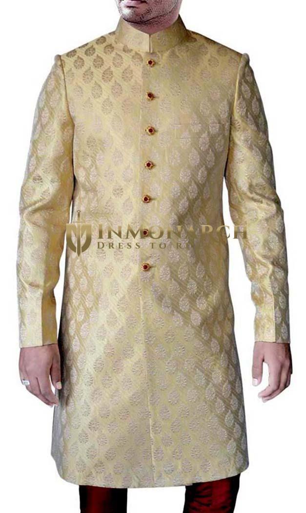 Mens Beige Brocade Partywear 2 Pc Sherwani