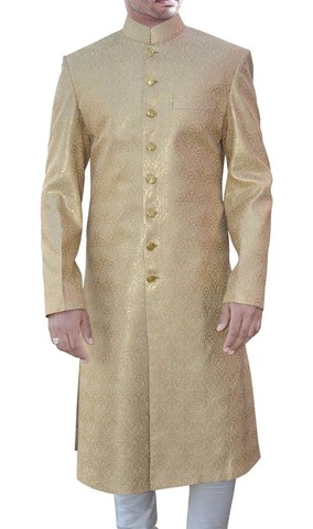 Mens Golden Brocade 2 Pc Sherwani Wedding