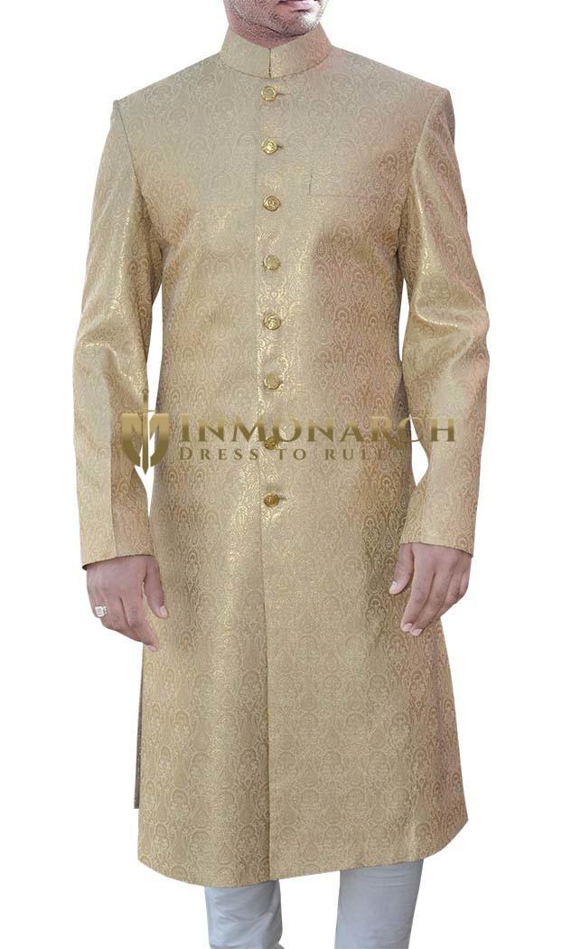 Luxurious Brocade Golden Sherwani