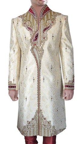 Mens Indo Western Outfit Beige Sherwani Maroon Patchwork