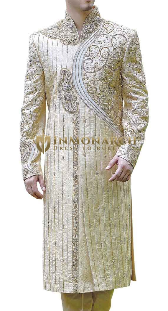 Mens Indian Suit Ivory Wedding Sherwani Western Attire Traditional