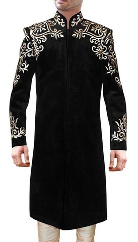 Mens Indo Western Black Velvet Sherwani For Men Golden Embroidery